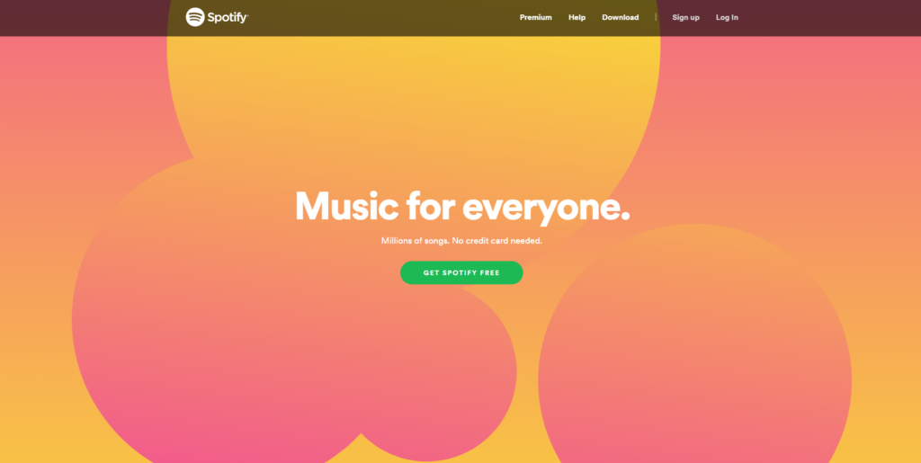 Spotify website homepage