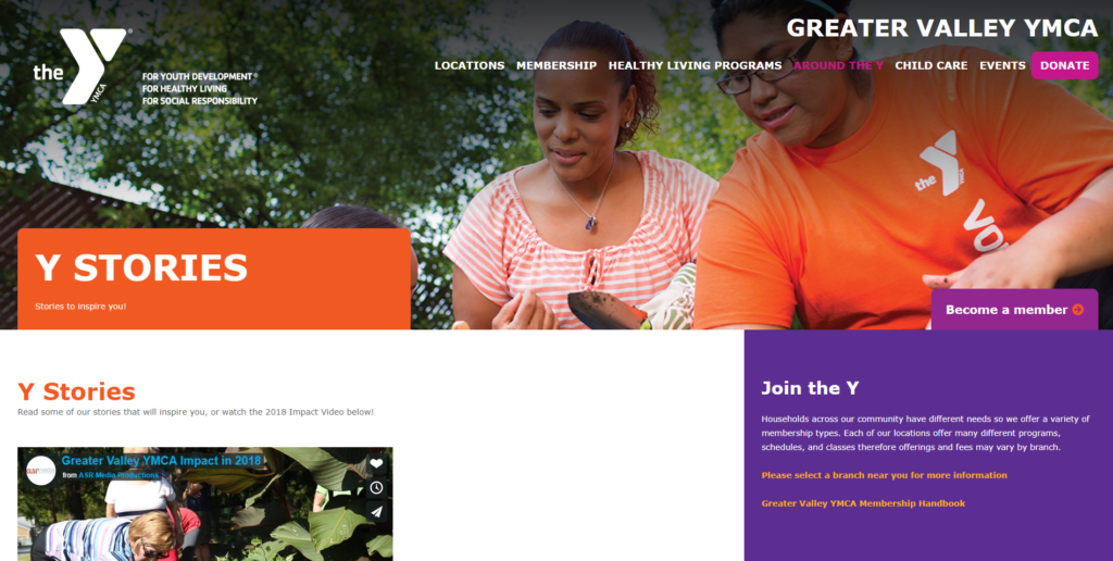 Greater Valley YMCA website. Bright orange and purple colors.
