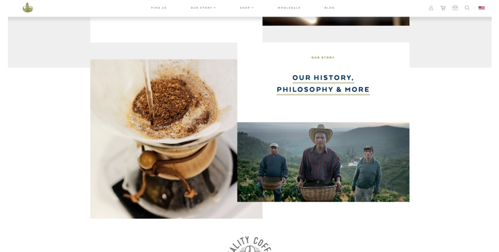 Campos Coffee website homepage.