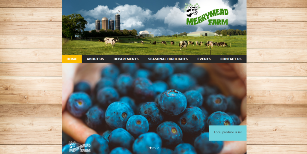 Merry Mead Farms website homepage.