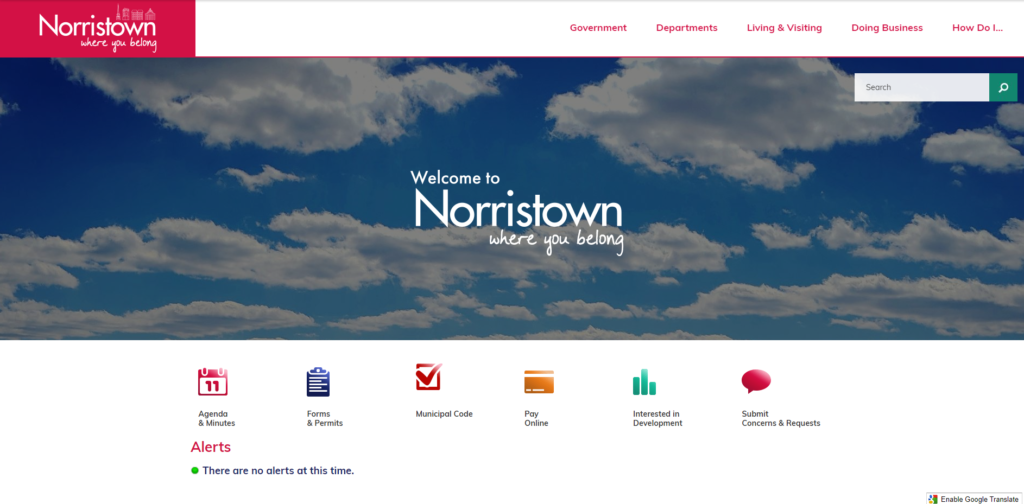 Norristown homepage website.